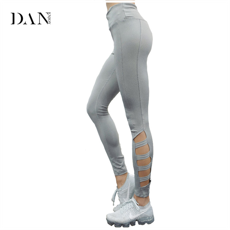 DANENJOY 2018 New Women Yoga Pants Sport Leggings Fitness Side Hollow Out High Waist Running Fitness Tight Compression Quick Dry