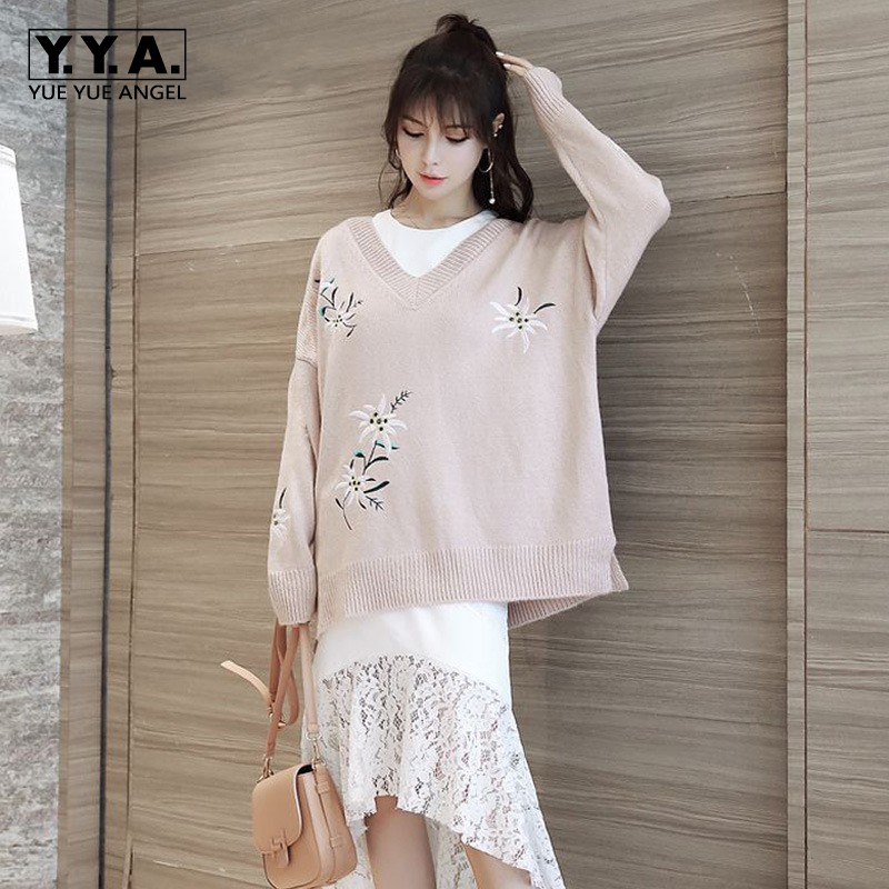 Womens Fashion Floral Embroidery Sweater Large Size Sexy V Neck Long Knitted Pullover Comfort Mohair Female Top Loose Fit Cloth
