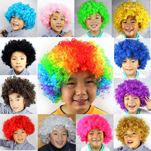 1pc Colorful Short Dance Afro Wigs Annual Party Headdress Cap Costume Ball Decorative Supplies Cosplay Clown Wig(China)