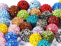 Wholesale 100pcs/lot 12MM CZ Crystal beads For Pave Disco Balls Fit DIY Bracelets Multi Color Free Ship