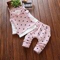 2016 новый детская одежда набор из трех частей (жилет + футболка + брюки) девушки хлопка костюм 0-4 лет ребенок-звезда ребенок с капюшоном костюм