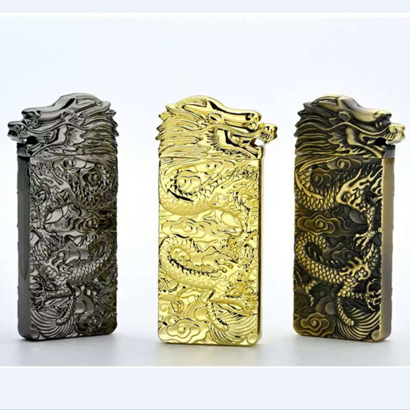 Dragon Two sided Double faced Heat Gold Rechargeable USB Electronic Cigarette Lighters No Gas Hot Lighter