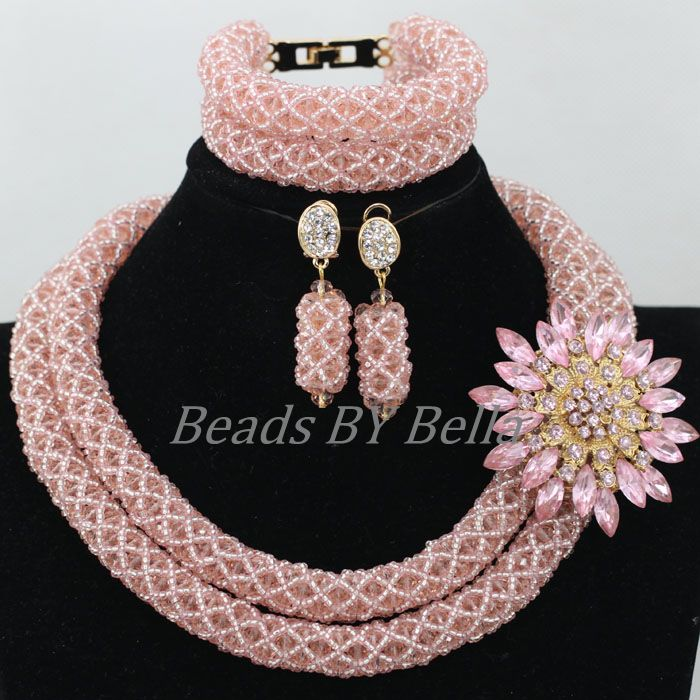 Popular Peach African Nigerian Wedding Beads Necklace Indian Bridal Jewelry Sets Crystal Beads Jewelry Set Free Shipping ABK007Popular Peach African Nigerian Wedding Beads Necklace Indian Bridal Jewelry Sets Crystal Beads Jewelry Set Free Shipping ABK007