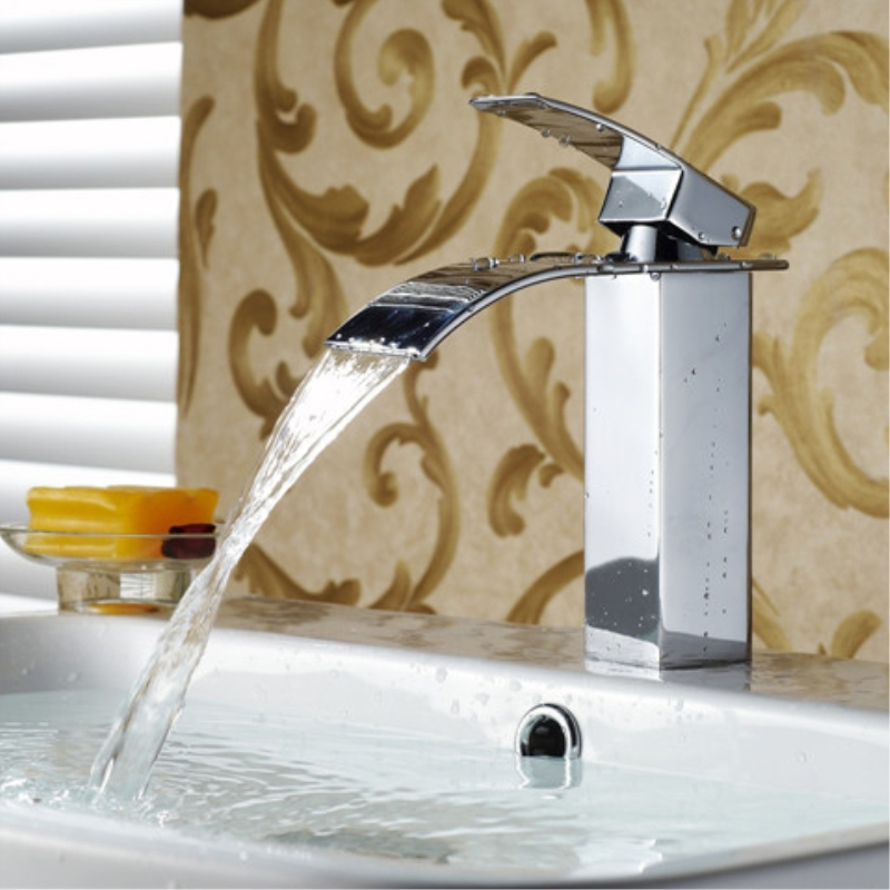 Basin Faucet Square Waterfall Modern Bathroom Sink Taps For Mixer Hot and Cold Crane Deck Mounted Commercial Faucets LT-503 3pcs waterfall faucet black basin faucets deck mounted bathroom tap sink bathtub faucet 2 handles faucet mixer crane