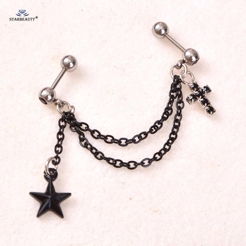 Trendy Cross Star Black Tassel Earrings Tragus Piercing Helix Piercing Cartilage Earrings Stainless Steel Nose Ring Ear Jewelry