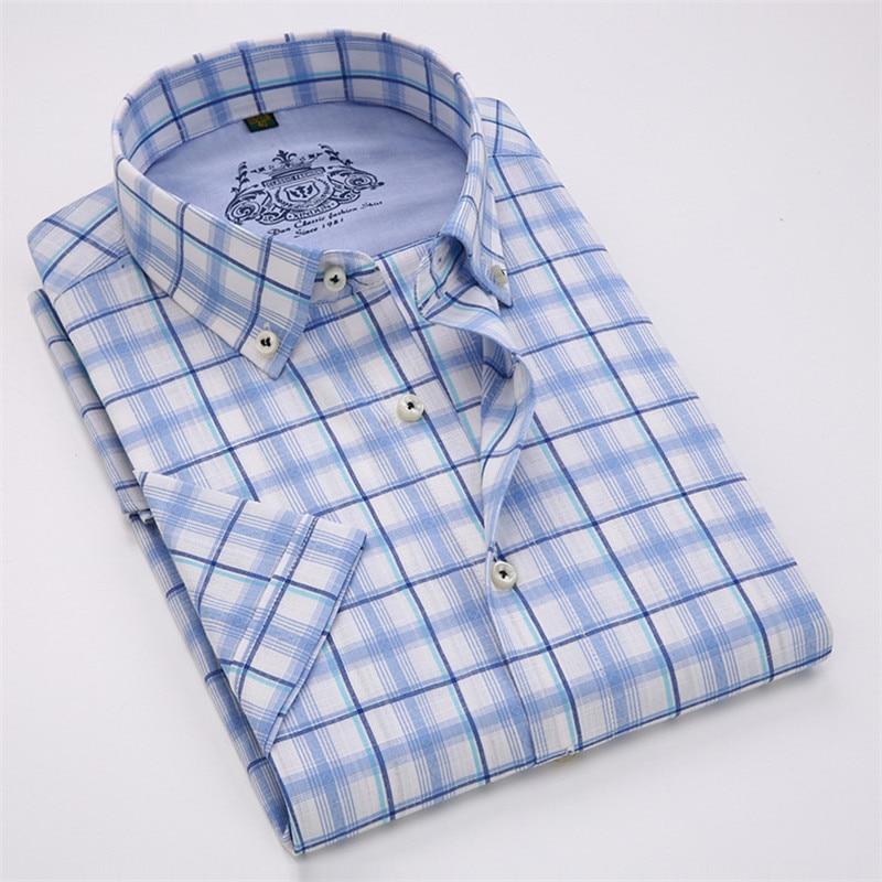 VISADA JAUNA Män Skjorta Pläd kortärmad Casual Brand Kläder - Herrkläder - Foto 5