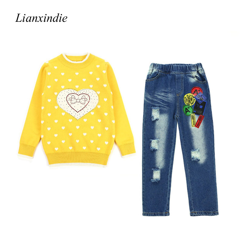 2018 Children's Girls Knitted Sweater Autumn Winter Toddler Girl Kids Clothes Knitwear Jeans Pants Outfits For 8 10 12 14 Years