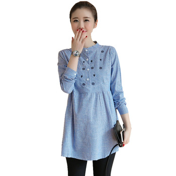 9971acfbb Maternidad ocasional blusas camisas para las mujeres embarazadas ropa de  algodón de manga larga Tops ropa de embarazo Gravidas blusas desgaste