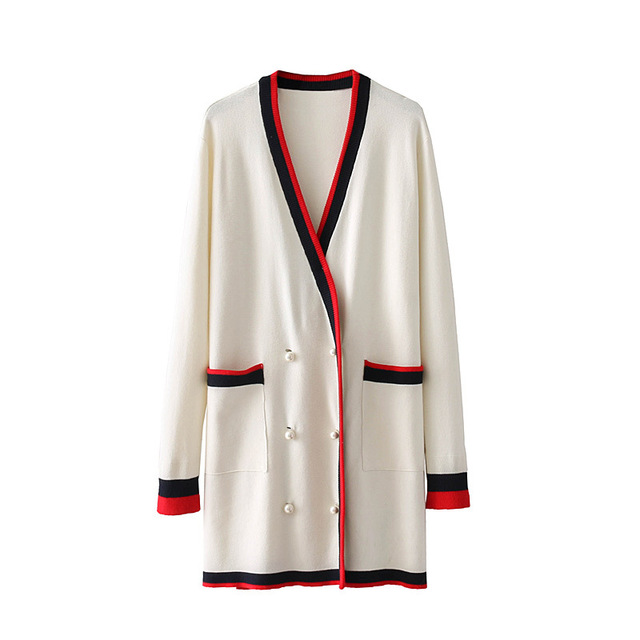 2bf200adbb 2017 Classic red White stripes cardigan high-end pearl buckle loose V-neck  knit
