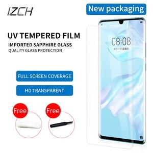 Image 1 - Best Protezione Dello Schermo di Vetro Per Huawei p30 pro P30pro temperato UV di vetro Pieno di Colla Bordo a bordo luce In Vetro Temperato protezione