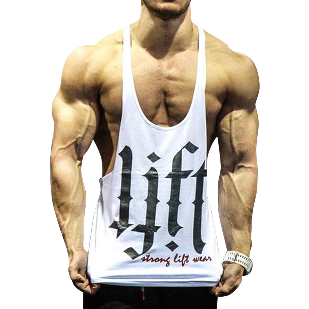 2019 Summer Men's Bodybuilding Sleeveless Tee Shirt Workout Fitness   Tank     Top   Casual Man Printed Stringer Vest Singlet Tanktop