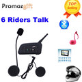 2016 New ! 1 pcs V6 Helmet Intercom 6 Riders 1200M Motorcycle Bluetooth Intercom Headset walkie talkie Helmet BT Interphone