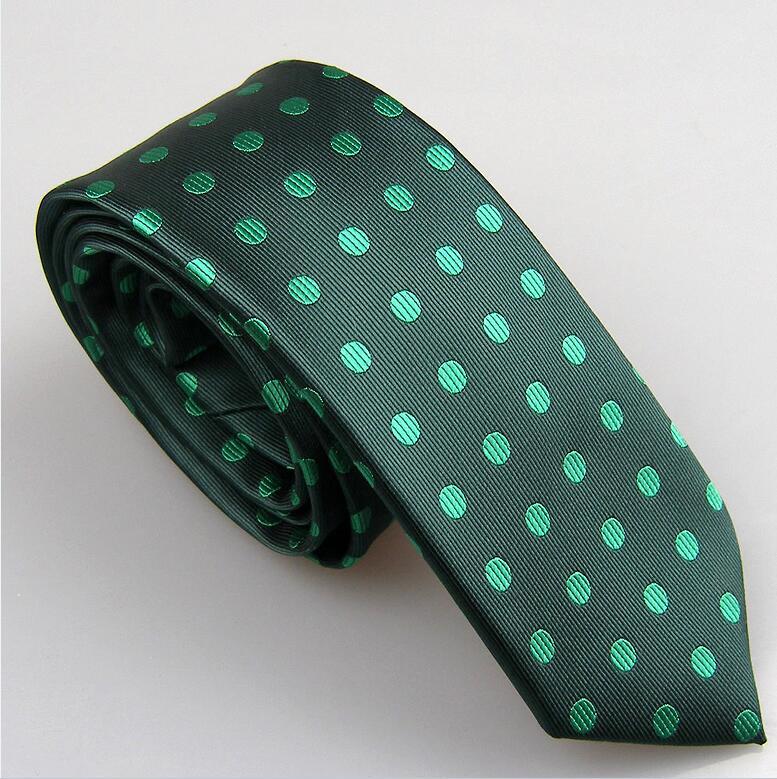 Lammulin Для Мужчин's Галстуки для костюма в точка жаккарда тканый шейный платок из микрофибры узкий галстук 6 см свадебные туфли, 10 цветов на выбор, брендовый мужской - Цвет: Dark green w Green