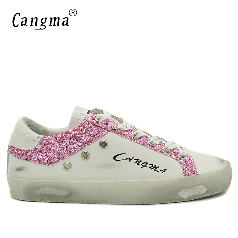 CANGMA Deluxe Brand White Distressed Leather Man Casual Shoes Breathable Pink Sequined Fashion Male Footwear Retro Low Top Flats колонка denn dbs211