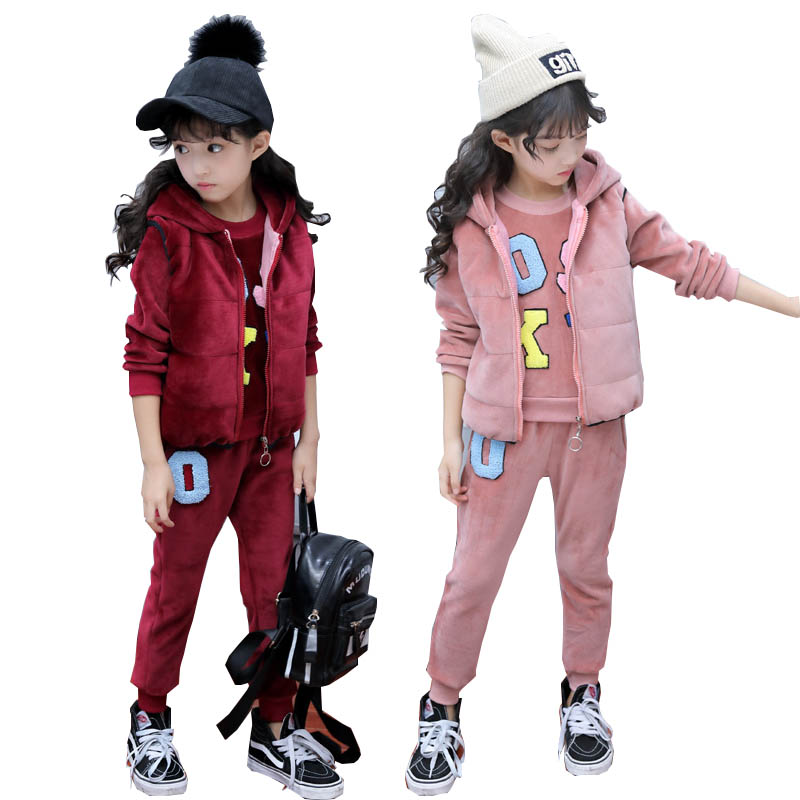 Teenage girls clothing set kids tracksuit for girls winter clothes pleuche fleece 3pcs school girls clothes children clothes scrapbooking stamp diy size 14cm 18cm acrylic vintage for photo scrapbooking stamp clear stamps for scrapbooking clear stamps 04