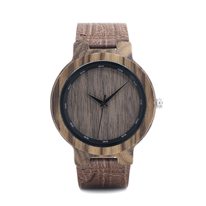 Image 2 - BOBO BIRD WD22 Zebra Wood Watch Men Grain Leather Band Scale Circle Brand Designer Quartz Watches for Men Women in Wooden Box
