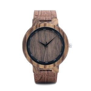 Image 2 - BOBO BIRD WD22 زيبرا ساعة خشب الرجال الحبوب حلقة من جلد مقياس دائرة العلامة التجارية مصمم ساعات كوارتز للرجال والنساء في صندوق خشبي