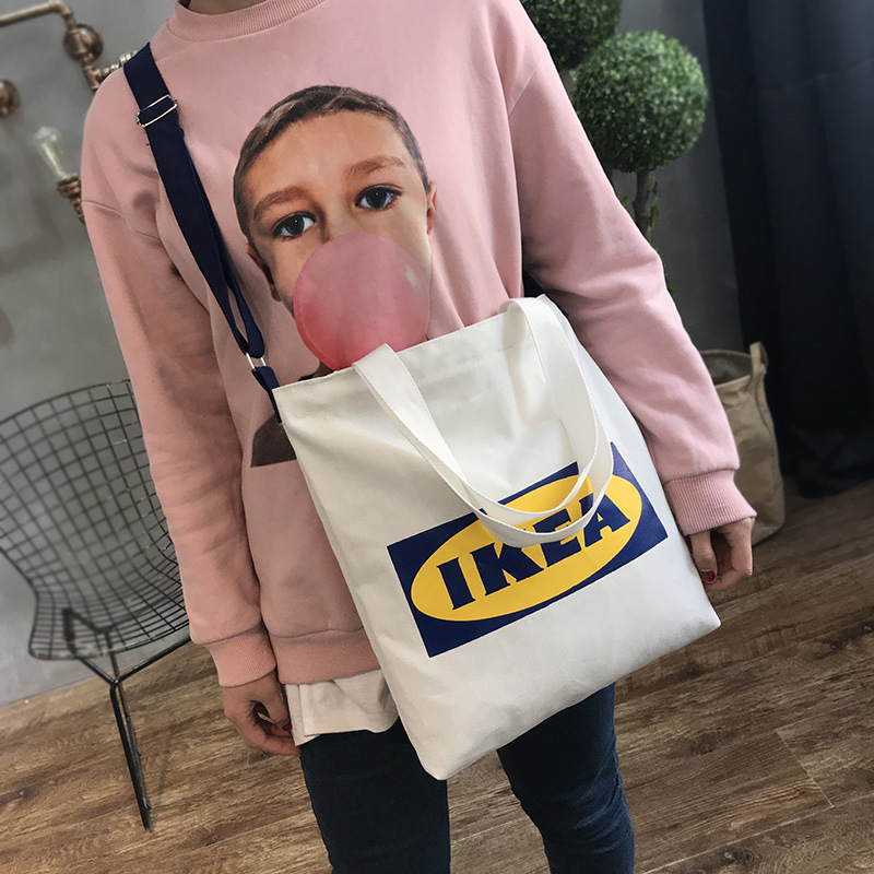 New Fashion Ladies Handbags Letter Print Cloth Canvas Tote Bag Cotton Shopping Travel Women Eco Reusable Shoulder Shopper Bags b in Shopping Bags from Luggage Bags