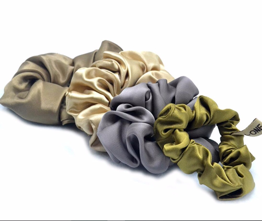 Free shippping Fashion women lovely solid color Silky hair scrunchies cute gum OL basic Hair Tie Accessories Ponytail Holder