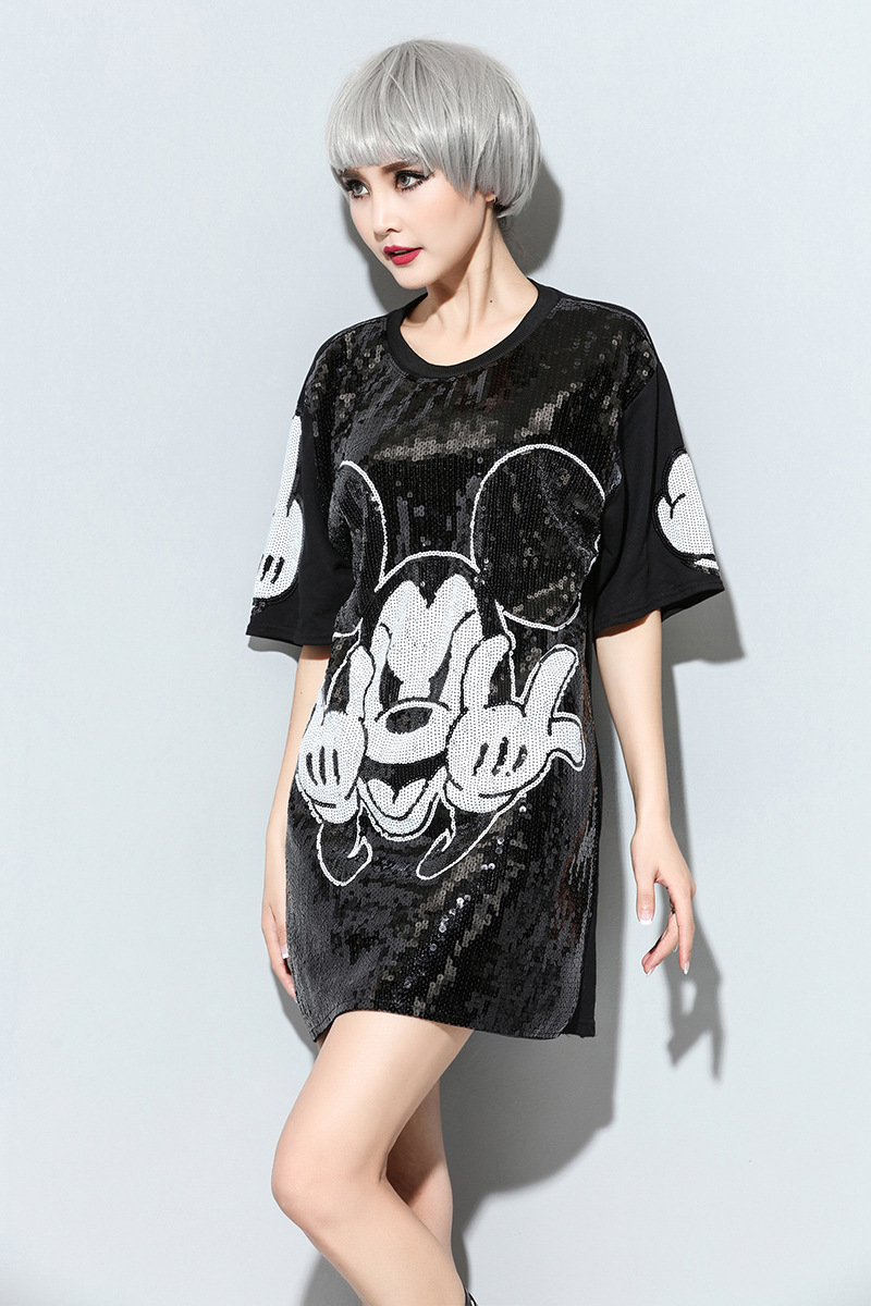 US $22.55 18% OFF|Women Harajuku Cartoon Mouse Printed T Shirt Dress Black  O Neck Casual Sequins Dress Plus Size Short Sleeve Paillette Dresses-in ...
