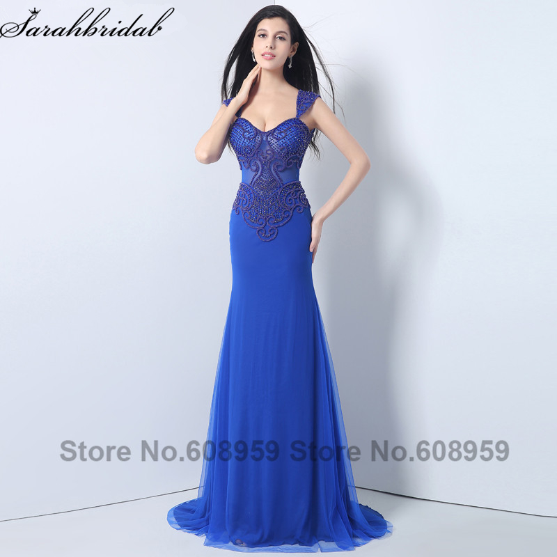 Fashion Royal Blue Beaded Hollow Out Formal   Evening     Dresses   Long Mermaid Prom   Dresses   Sexy Special Occasion   Dresses   YLN006