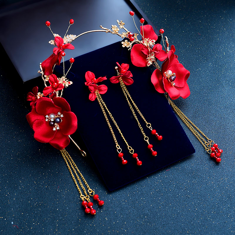 Image 5 - New Bridal Red Rose Flower Crowns for Women Wedding Crystal Tiaras and Earrings Vintage Chinese Wedding Hair Accessories ML081-in Hair Jewelry from Jewelry & Accessories