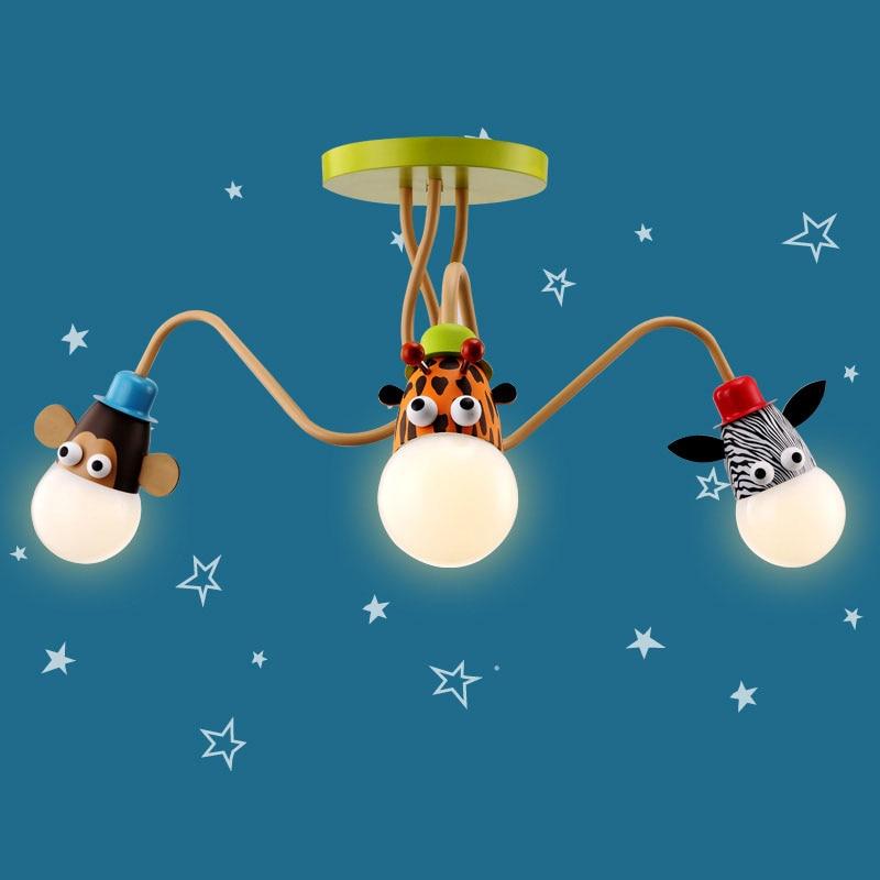 Children Bedroom Cartoon Animal Small Droplight Monkey / Zebra / Giraffe Hanging Lights For Dining Room Pendant Lamps Modern