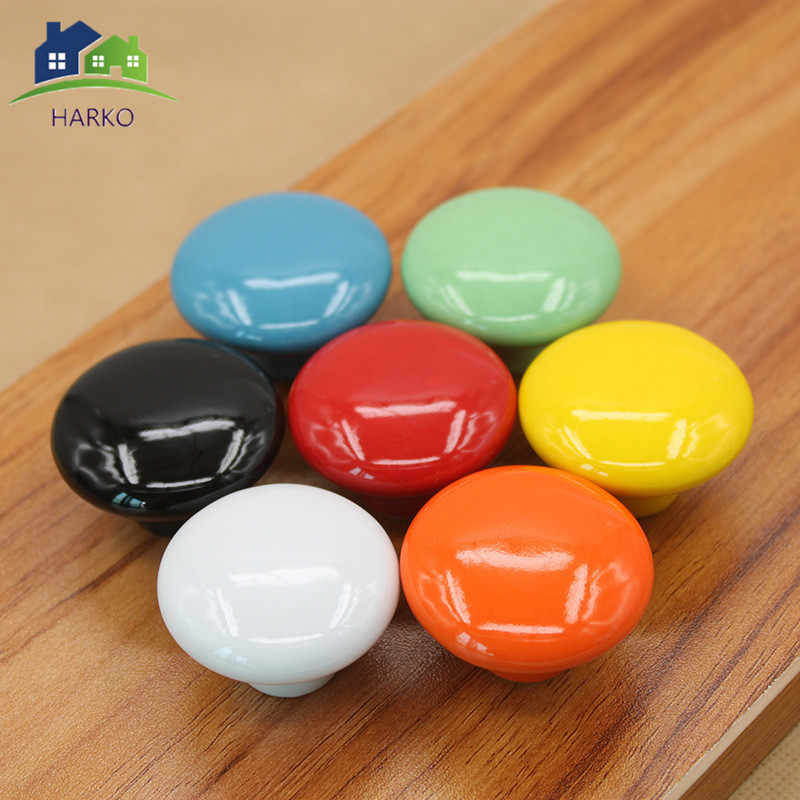 Candy Color Round Furniture Knobs Ceramic Drawer Knob Cabinet Pulls Cabinet Closet Cupboard Pull Handle Modern Kitchen Handle
