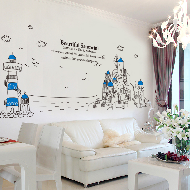 Customized Santorini Lighthouse Wall Stickers Europe Style Creative DIY  Home Decor for Living Room Sofa Background