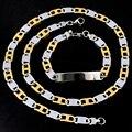 Moda Gold & Silver colar pulseiras conjuntos de jóias para mulheres dos homens de aço inoxidável 316L ID partido jóias charme presentes LJS102