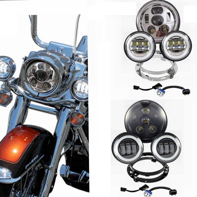 Harley daymaker мотоцикл 7 светодиодные фары с 4.5 светодиодный фонарь для Harley Davidson мотоцикл с 7 кронштейн переходное кольцо
