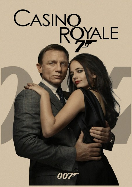 Retro Poster Decoration Movie Poster 007 Casino Royale Family Bedroom Wall Sticker