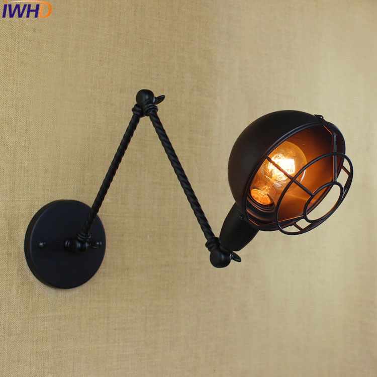 IWHD Vintage Industrial Double Long Arm wall lamp Loft Retro Adjustable Black Iron Wall Light American style E27 LED Sconce Lamp iwhd loft style creative retro wheels droplight edison industrial vintage pendant light fixtures iron led hanging lamp lighting
