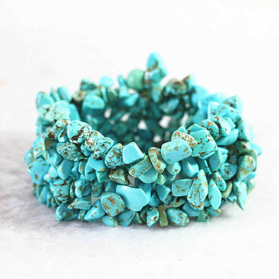 "Fashion black veins calaite turquoises stone 9x11mm Irregular gravel beads diy Bracelet 7.5"" B523"