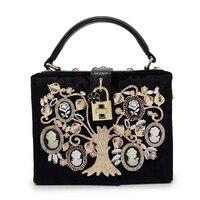 Schwarz samt diamant kristall blumen luxus handtasche baum muster abendtasche clutch parteigeldbeutel umhängetasche (C1384)