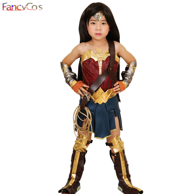 Wonder Woman For Girl Costume Halloween Justice League Princess Diana Dress Cosplay Full Set Dc Movie