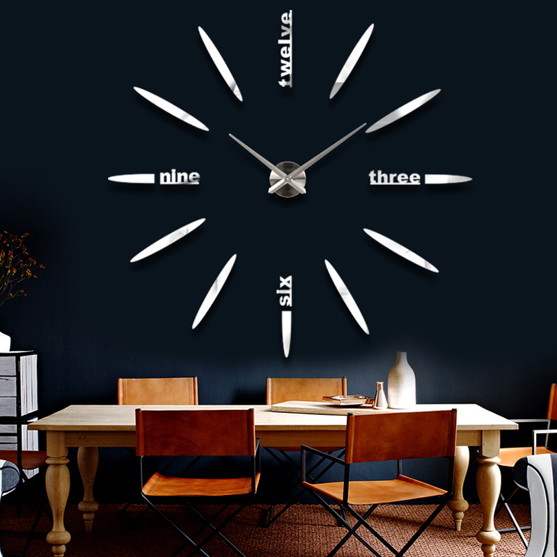 Venta Nuevo Reloj de pared Relojes Reloj Pegatinas Diy 3d Acrílico Espejo Decoración del hogar Cuarzo Balcón / patio Aguja Moderno caliente