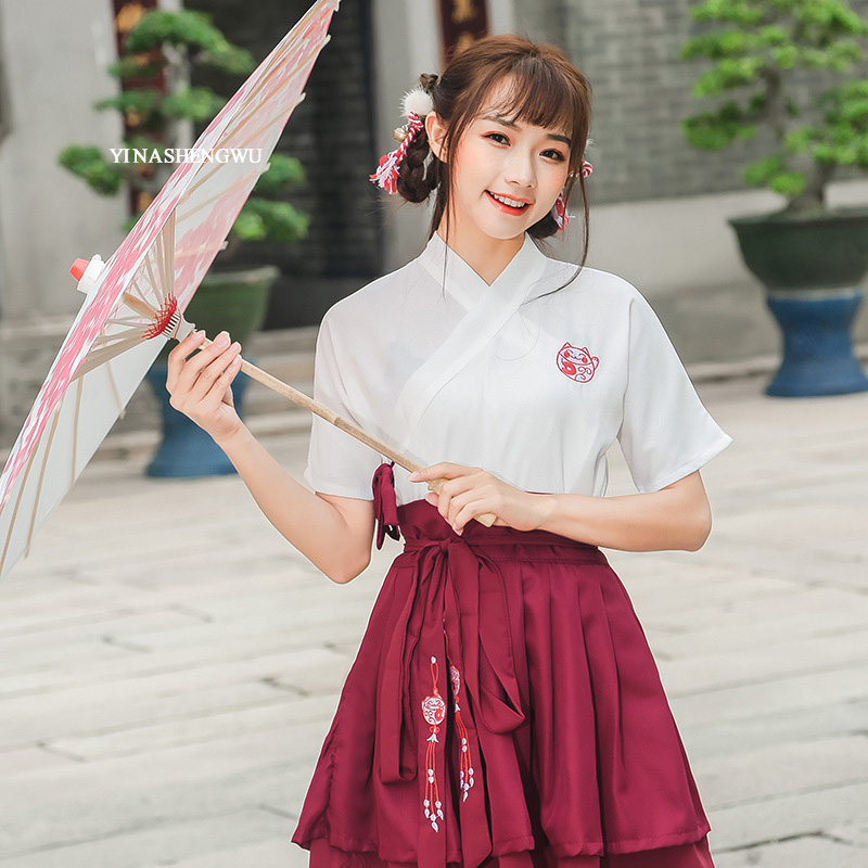 Hanfu Costume Dress Women Improved Hanfu Daily Short Sleeve Hanfu Embroidered Crossdresses Costumes Han Elements Student Set 18