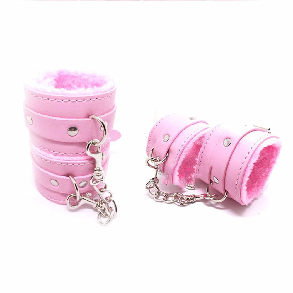 Adult Games Police Handcuffs Adjustable PU Leather Sex Toys Marriage Sex SM Appliances Beauty Beast Women SM Bondage Erotic Toys in Adult Games from Beauty Health