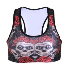 NEW 0015 Summer Sexy Girl Women garland rose skull 3D Prints Padded Push Up Gym Vest Top Chest Running Sport Yoga Bras