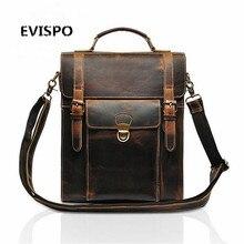 EVISPO Legend Brand 2017 RetroStyle Charming Head Layer Cow Leather Teenage Boys's Men 's Laptop Bag Backpacks For Men #33446