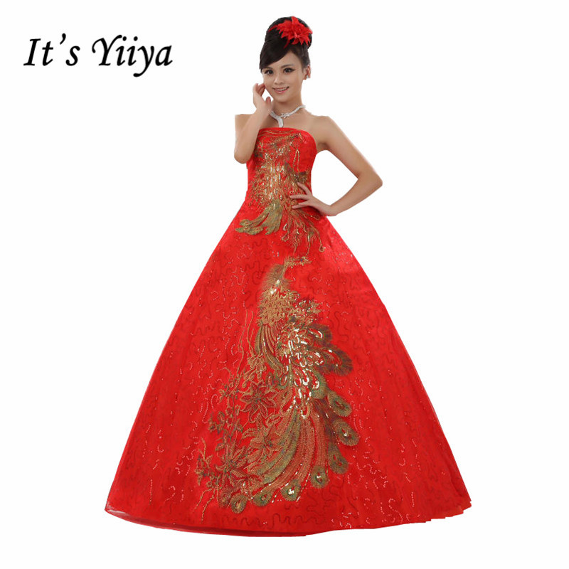Free Shipping Plus Size Red Strapless With Gold Wedding
