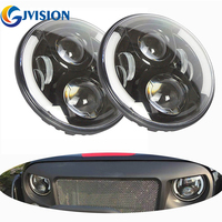7INCH Jeeps Round Led Headlight 60W DRL Angel Eye White Half Halo Amber Turn Signal For