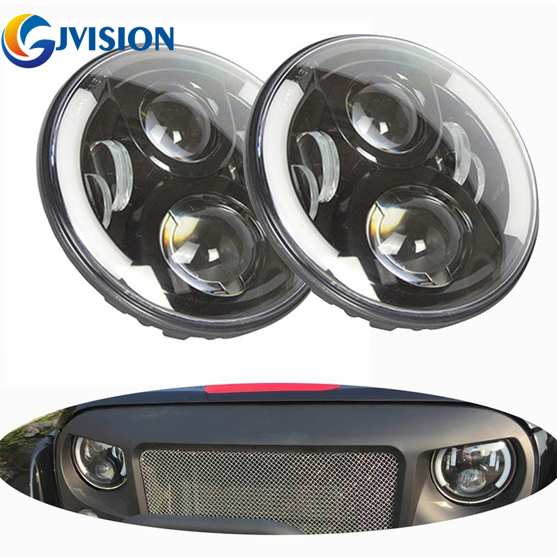 7INCH Round led Headlight 60W DRL Angel eye White Half Halo & Amber turn signal for Jeep Wrangler JK TJ Hummer H1 H2 7 60w round car led headlight with halo angel eye