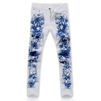 2016 New Men printing Coloured drawing or pattern Nightclubs Jeans,white Denim Jeans Men,plus-size 28-36