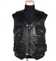 New Men's Waistcoat Genuine Leather Reporters Suit More Than Pocket Quinquagenarian Men Cow Leather Vest Tops