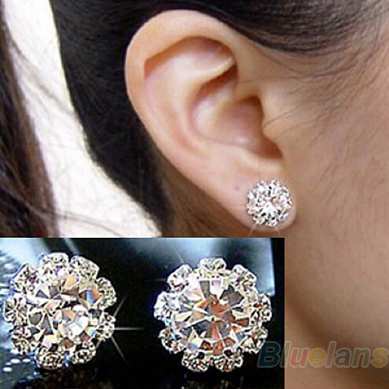 Spherical Earrings Fashion Women Crystal Flower Stud E0105