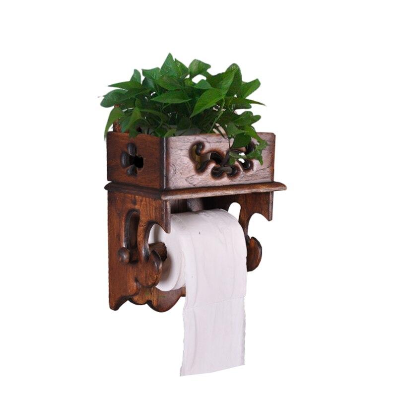 Thaï bois porte-serviettes étagère rétro salle de bains boîte à mouchoirs toilette rouleau titulaire mobile porte-papier hygiénique LO4231