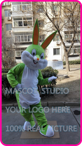 Mignon costume de mascotte de lapin vert clair de pâques costume fantaisie personnalisé anime cosplay kits mascotte thème de bande dessinée robe fantaisie