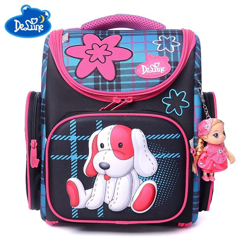 Delune бренд школьные сумки для девочек 2 медведи печати Водонепроницаемый школьный ранец детский ортопедический Мультфильм Mochila Escolar подарки